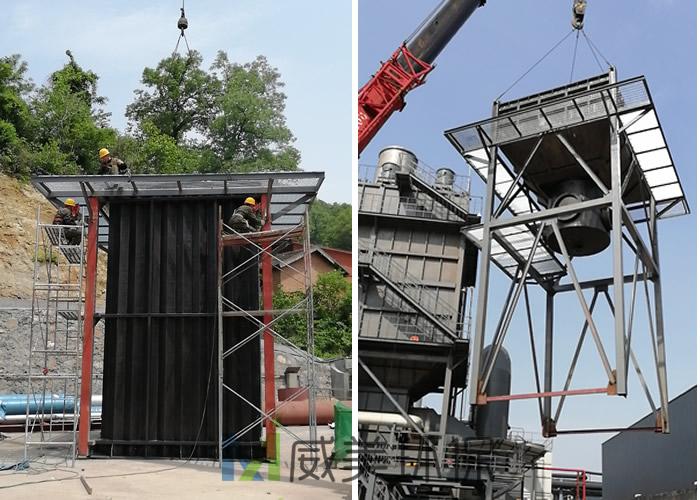 电除雾器集尘室吊装过程中